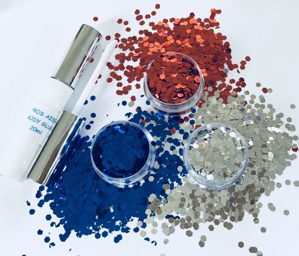 FESTIVAL GLITTER  KIT - RED SILVER BLUE